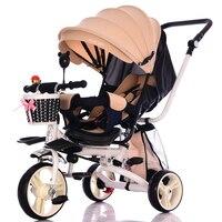 Легкий складной детский трехколесный велосипед может лежать Recline три колеса детский трехколесный велосипед коляска автомобиль путешестви
