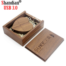 SHANDIAN USB Wooden heart USB Flash Drive pendrive 4GB 8GB 16GB 32GB