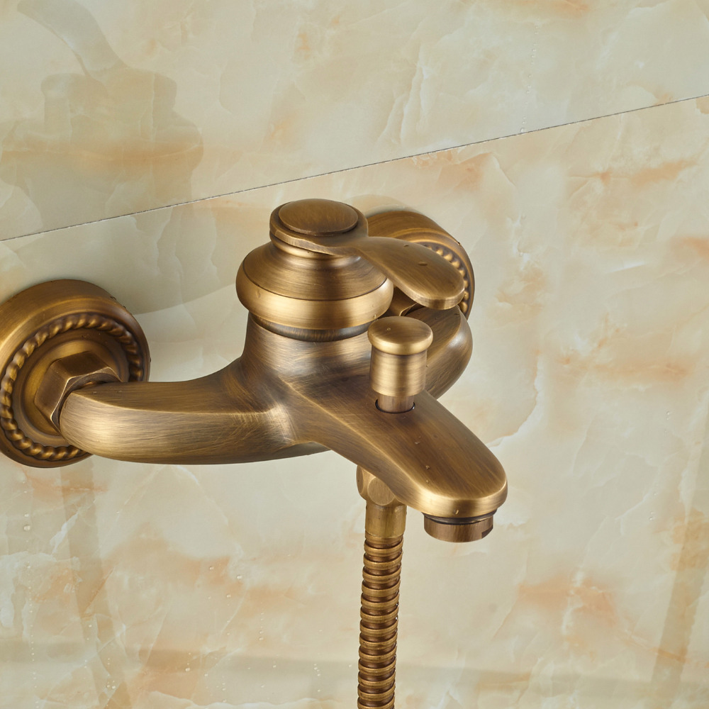 Wholesale And Retail Promotion Luxury Wall Mounted Antique Brass Bathroom Tub Faucet W/ Handheld Handy Shower Sprayer