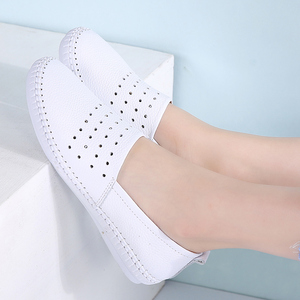 Image 5 - STQ 2020 Summer Women Flats Genuine Leather Ballet Flats Shoes Ladies Cutout Slip On Tenis Feminino Loafers Slipony Shoes B17
