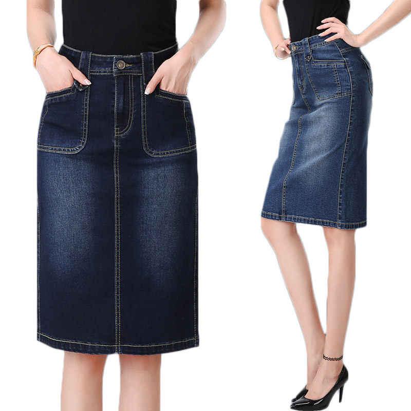 تنورة الدنيم إمرأة الربيع الصيف عالية الخصر حزمة الورك تنورة كبير حجم 6XL الجينز تنورة انقسام عارضة التنانير Saia خمر f489