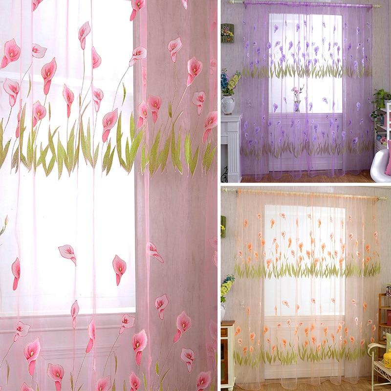 panel de puerta cortina cortina sala de divisor bufanda pura voile cortina de ventana de la decoracin