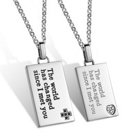 Mimeng Titanium Jewelry Stainless Steel Jewelry Titanium Couple Necklaces Square Necklace Come With Chain