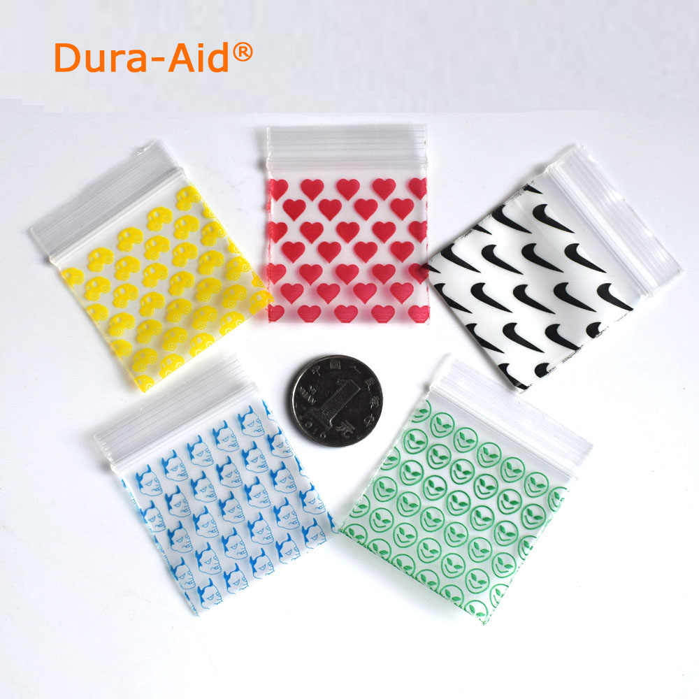 1000pcs different size desgin printing small size Self Sealing Zip Lock Bags Mini ziplock jewelry pouches mini ziplock bags