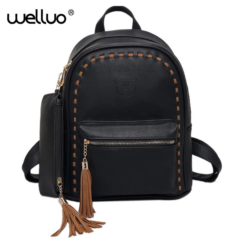 Fashion Women Backpack Tassel Pu Leather Back Pack Famous Brand School Bags for Girls sac a dos femme with Purse mochila XA239B backpack for teenage girls brand women backpack new design leather backpacks female tassel back pack embossing mochila sac a dos