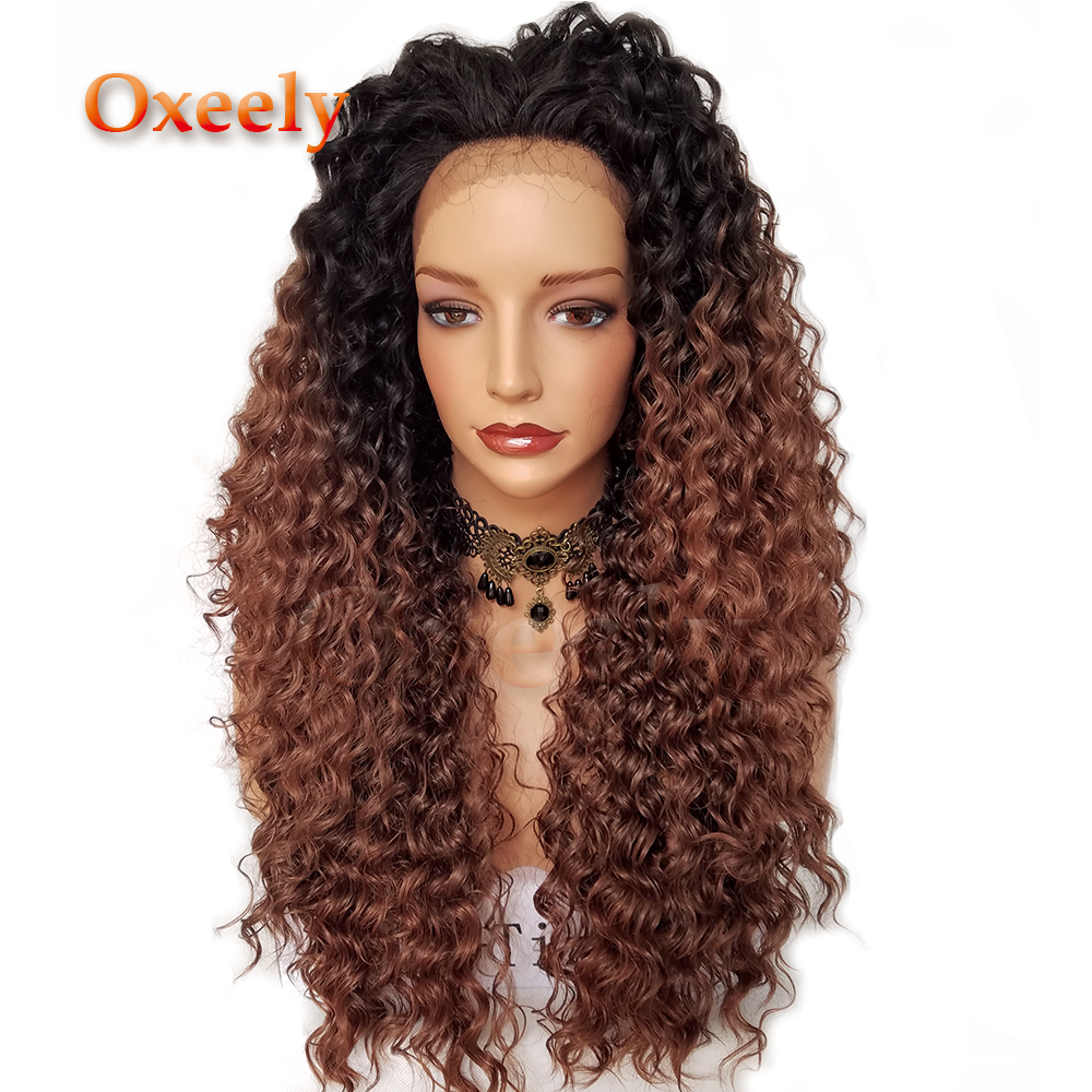 Oxeely Kinky Curl Synthetic Lace Front Wigs Ombre Hair 30 Hair