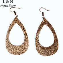 Rainbery Fashion Teardrop PU Leather Dangle Earrings Antique Looking Various 10 Colors Leather Hollow Bohemian Earrings JE0601