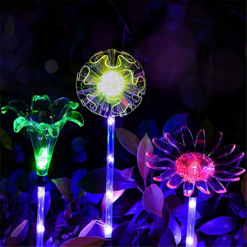 Dandelion /Lily / Sunflower Multi color Changing Solar Powered LED Flower Stake Light Transparent L&shade Light Lawn L&-in Solar L&s from Lights ... & Dandelion /Lily / Sunflower Multi color Changing Solar Powered LED ...