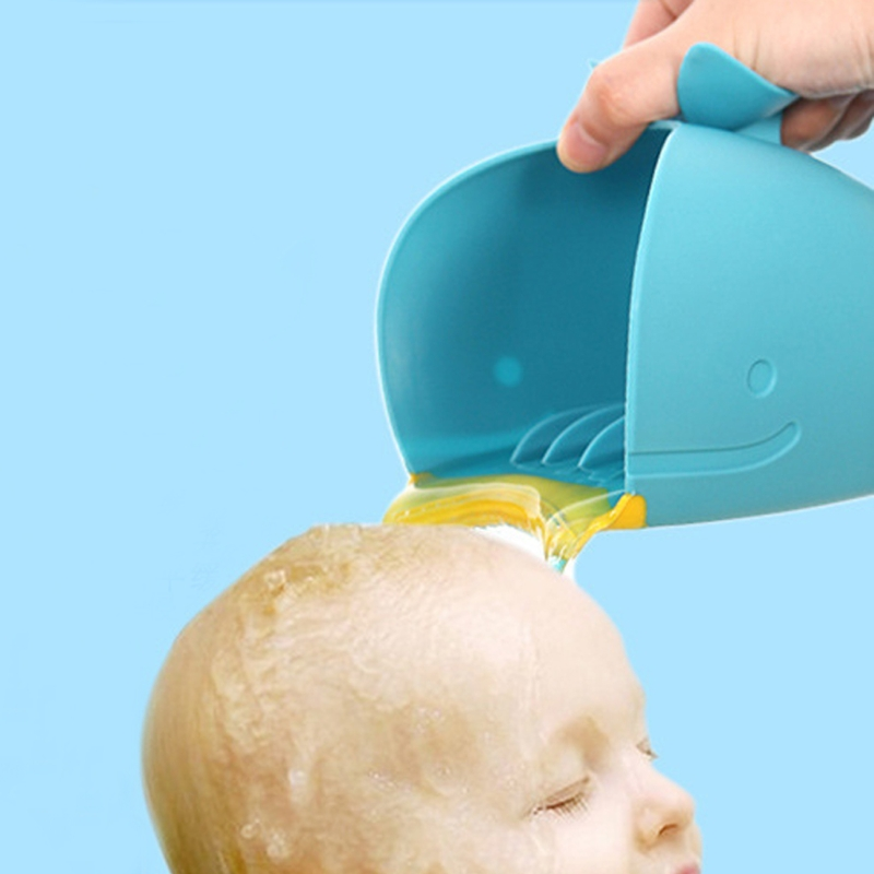 2018 New Baby Bath Cap Kids Washing Hair Shampoo Cartoon Whale Cup Children Shower Spoons
