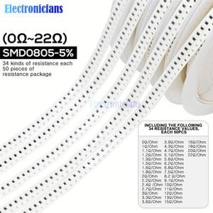 1700PCS/Lot 0805 SMD Resistor 0R -10M Ohm 5% 1/8W 0.25W Chip Resistance Fixed Resistor Assorted Kit 34 Values X 50pcs =1700pcs