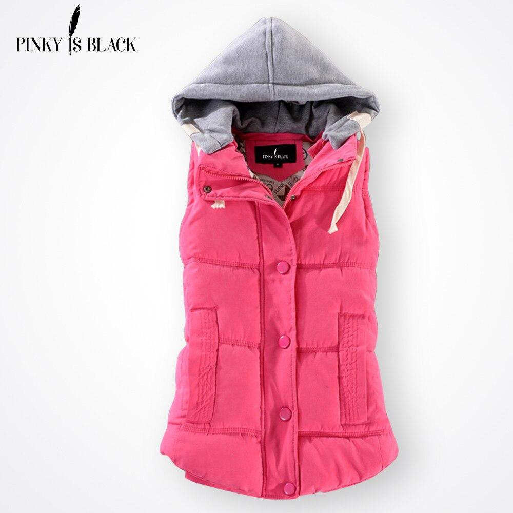 Pinky é preto outono inverno moda algodão colete feminino retalhos sem mangas gola com capuz casaco casual colete feminino