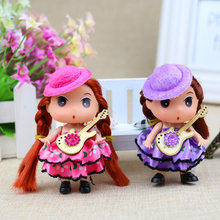 Toys Dolls for Girls Children Skirt Princess Cartoon Wedding Dress Musical instrument Doll Toys for Baby dolls set 9cm 1pc(China)