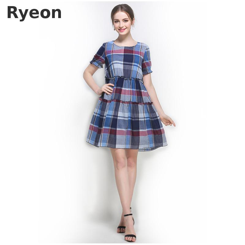 6c4b9b11041 Ryeon 5xl Plus Size Plaid Summer Dresses Women Casual A line Short Knee  Length Natural Ruffles Large Size Simple Dresses-in Dresses from Women s  Clothing on ...