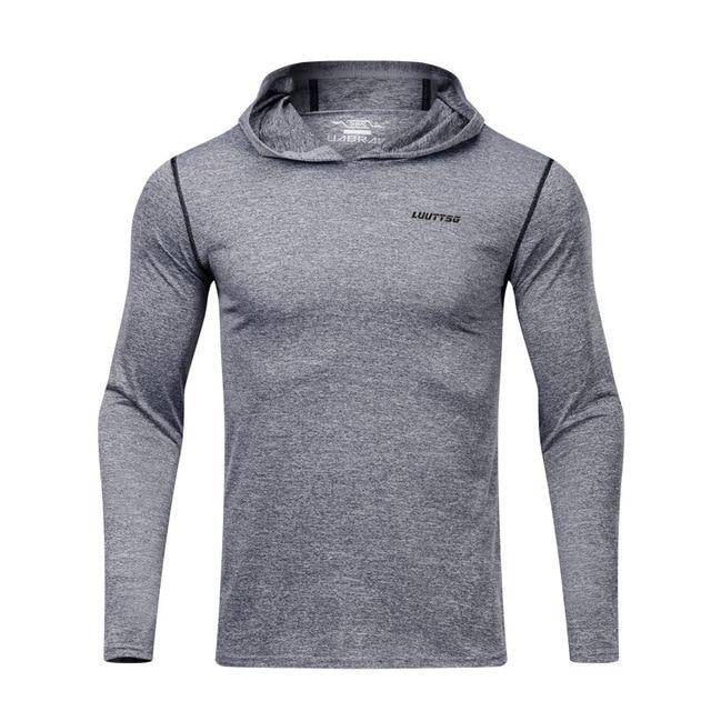 2019 новые мужские, весенне-осенние, для бега, куртка, профессиональная спортивная спортивное пальто для активного образа жизни, с капюшоном, высокое эластичные баскетбольные Одежда с длинным рукавом рубашки для мальчиков