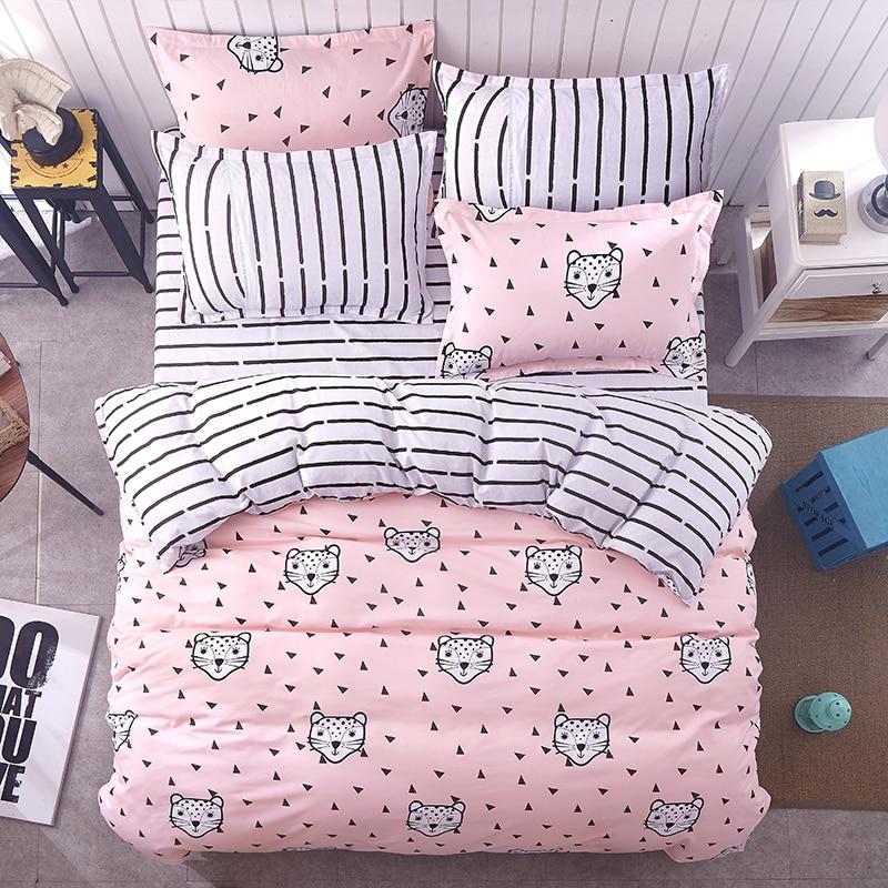 Autumn and Winter Bedding Sets Pink Leopard Duvet Cover Set Cover Stripe Falt Sheet Pillowcase 2pcs Queen King 4pcs Twin 3pcs