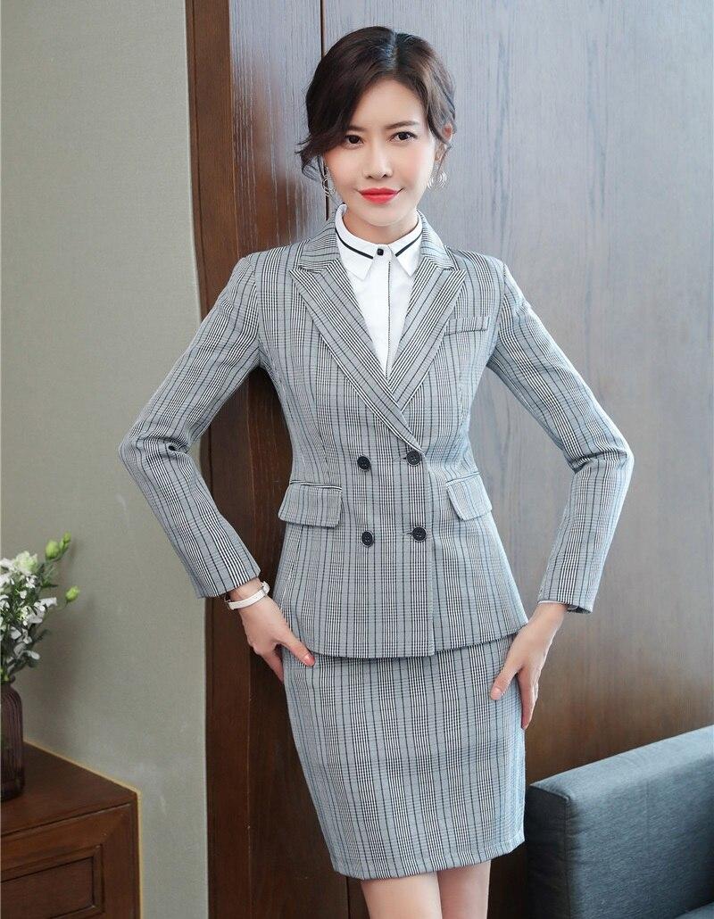 LiebenswüRdig Hohe Qualität Formale Frauen Rock Anzüge Grau Blazer Und Jacke Sets Damen Anzüge Büro Uniform Designs Stile Wohltuend FüR Das Sperma