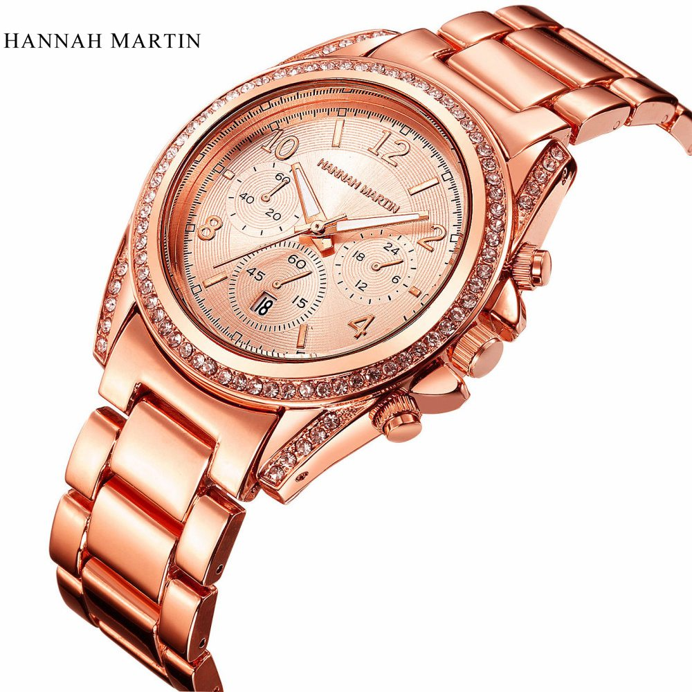 Hannah Martin Women's Watches Rose Gold Watch Women Watches Luxury Diamond Ladies Watch Saat Clock Relogio Feminino Reloj Mujer