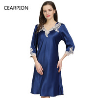 CEARPION Summer New Nightdress Hot Sale Nightwear Women Sexy Sleepwear Lace Embroidery Nightgown Satin Soft Home Dressing Gown