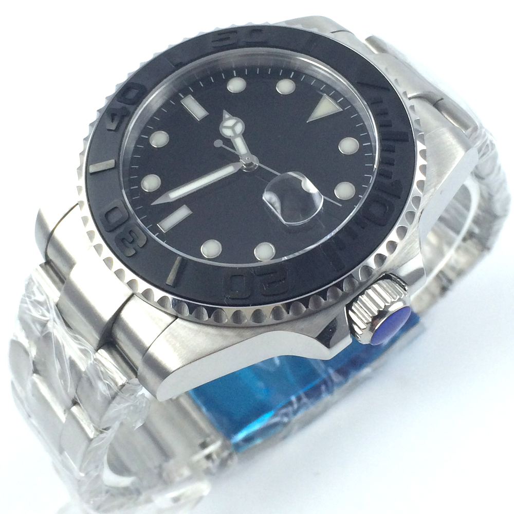 лучшая цена BLIGER 43mm black dial date sapphire glass automatic mens wrist watch