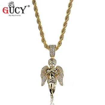 GUCY Hip Hop hommes femmes pendentif collier couleur or plaqué glacé Micro Pave CZ pierres ange pendentifs colliers cadeau amoureux