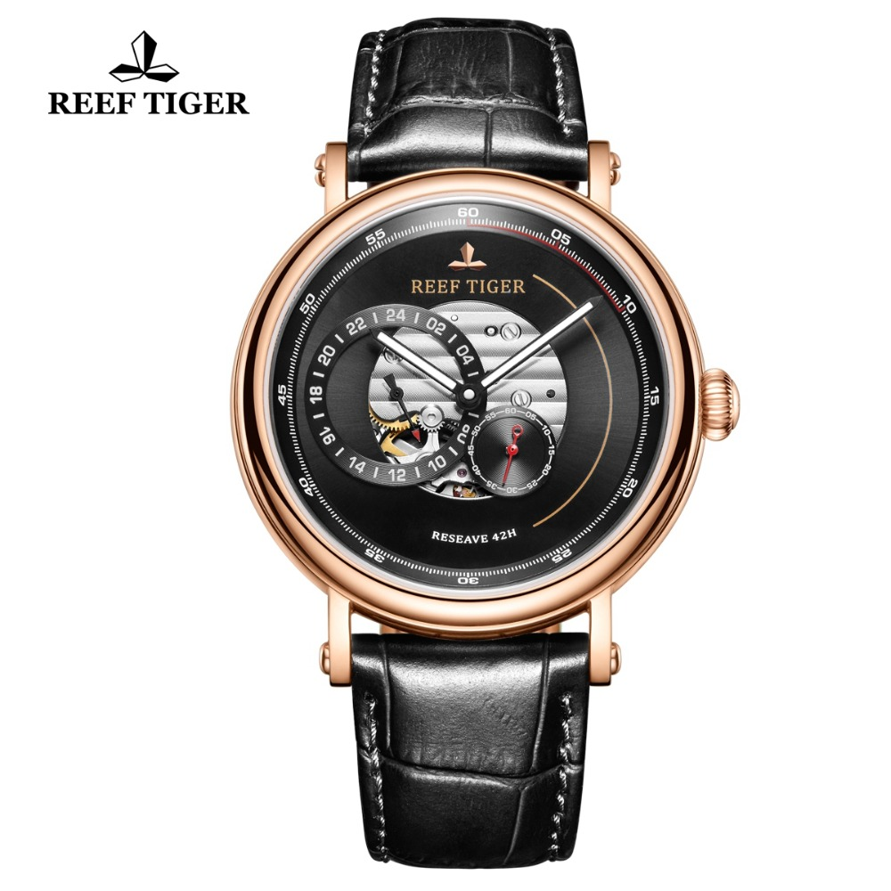 Reef Tiger/RT Top Brand Mens Luxury Watch Waterproof Automatic Watch Skeleton Mechanical Watch Leather Strap Relogio RGA1617