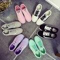 2016 Nova Primavera Mulheres Sapatos Baixos com Lace-up Sapatos de Lona Moda Casual Feminino Doces Cor Mulheres Sapatos de Superstar sapatos Mulheres