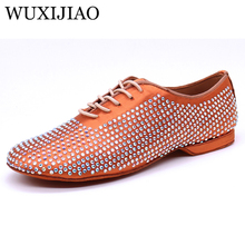 WUXIJIAO Latin Dance Shoes Mens Satin rhinestone Ballroom Dancing Men Soft Bottom Social Party Low Heel 2cm