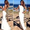 Белый элегантный мода sexy бретельках посадки соболезнуем спинки платье