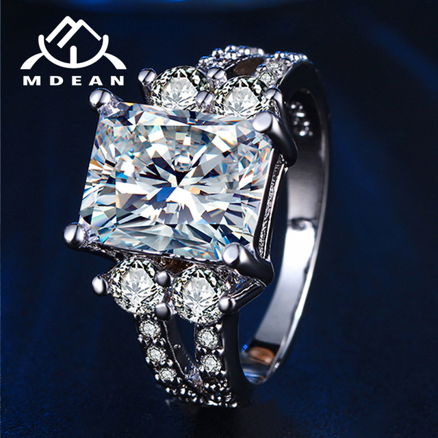 MDEAN White Gold Color Vintage Rings for Women AAA Zircon Jewelry Ring Wedding Engagement Women Rings Size 6 7 8 MSR125