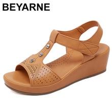 BEYARNE2019 여름 신발 여성 웨지 샌들 여름 숙 녀 웨지 신발 캐주얼 여성 Sandalias 플러스 크기 e579