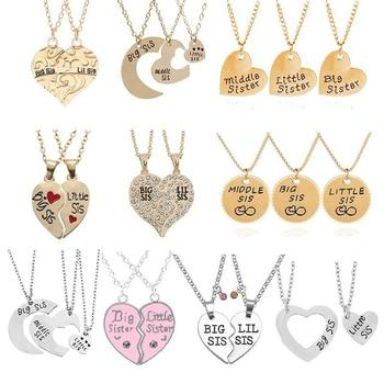 2/3 PCS Middle Little Sisters Puzzle Heart Round Necklaces Sets  Women's Bracelets