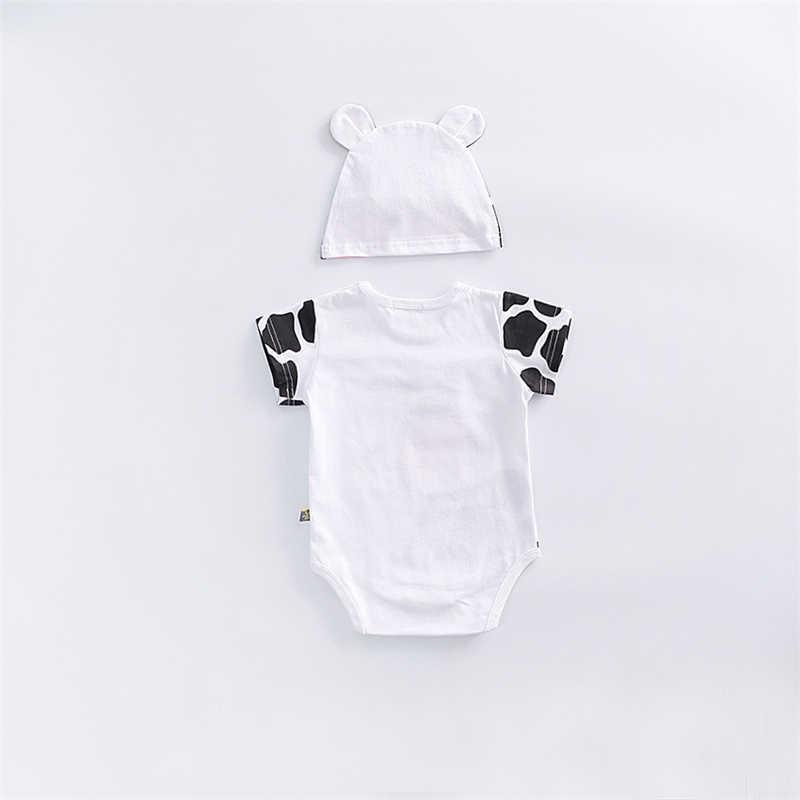 2 cái/bộ Động Vật Dễ Thương Bò Quần Áo Sơ Sinh Bodysuits + Mũ Cotton Bé Trai Bé Gái Quần Áo Bộ Jumpsuit Roupas Cho Bé của Bộ