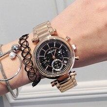 2016 Venta Caliente Ginebra reloj de Oro Rosa Vestido de Las Mujeres Reloj de Cuarzo del Deporte Del Acero Inoxidable de La Joyería de Lujo Electrónicos Reloj reloj mujer