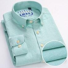 Новый 2017 Recommend Хорошее качество 100% Оксфорд хлопка не нужно Easy Care Длинные рукава Slim Fit бизнес мужские однотонные повседневные рубашки