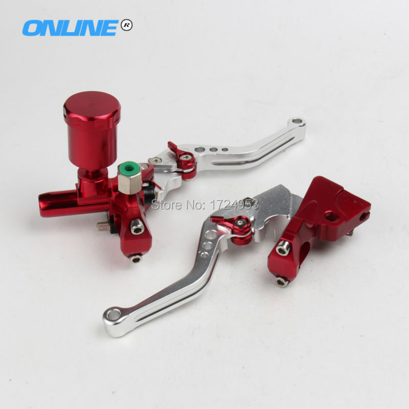 CNC Motorcycle Left&Right Hydraulic Brake & Clutch Master Cylinder Lever With Oil Pump Fit CRF KXF YZF WR RMZ EXC Free Shipping cnc folding brake lever clutch lever with front pump fit most motorcycle dirt pit bike motorcross crf klx yzf rmz refit part