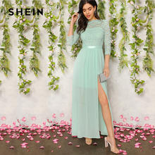 SHEIN Green V Back Split Thigh Sheer Lace Summer Party Maxi Dress Women Elegant Ribbon Waist Fit and Flare A Line Empire Dresses