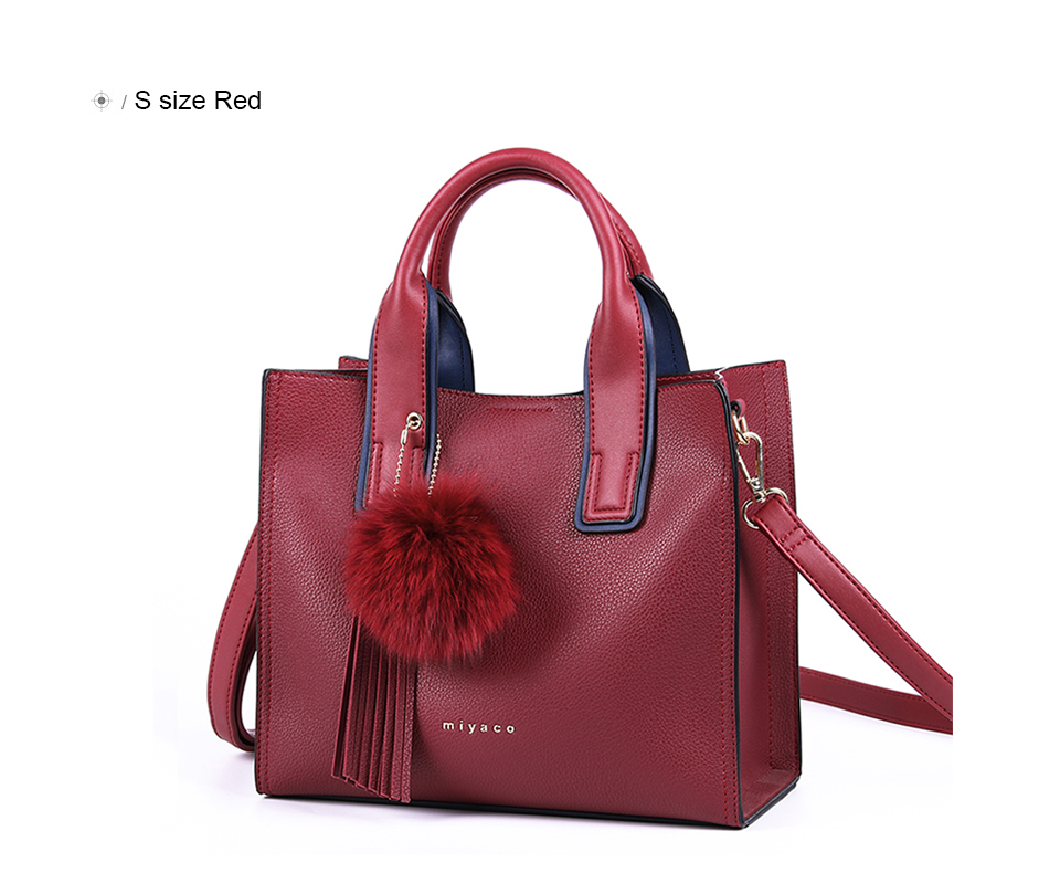 Miyaco Women Leather Handbags Casual Brown Tote bags Crossbody Bag TOP-handle bag With Tassel and fluffy ball 30