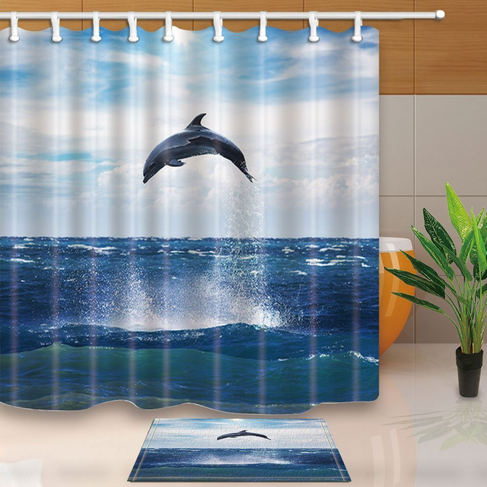 Nature Scenery Decor,Marine Wild Animal Dolphin Jump Out of the Sea Safari Mildew Resistant Polyester Fabric Shower Curtain Suit