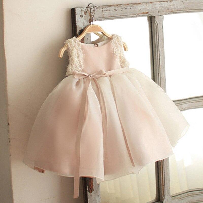 Mode enfants sans manches dentelle volants robe de princesse pour filles enfants robe de soirée fleur filles robe de mariée perle glands robe