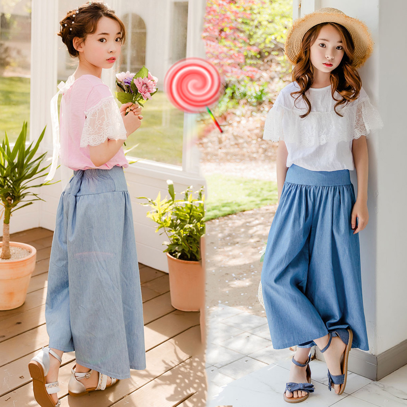 2019 Summer Girls Outfits Teenager Girls Fashion Clothes Set Shirt Wide Leg Pant 2pcs Kids Teens