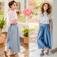 2019 Summer Girls Outfits Teenager Girls Fashion Clothes Set Shirt + Wide Leg Pant 2pcs Kids Teens Clothing 10 12 Ensemble Fille