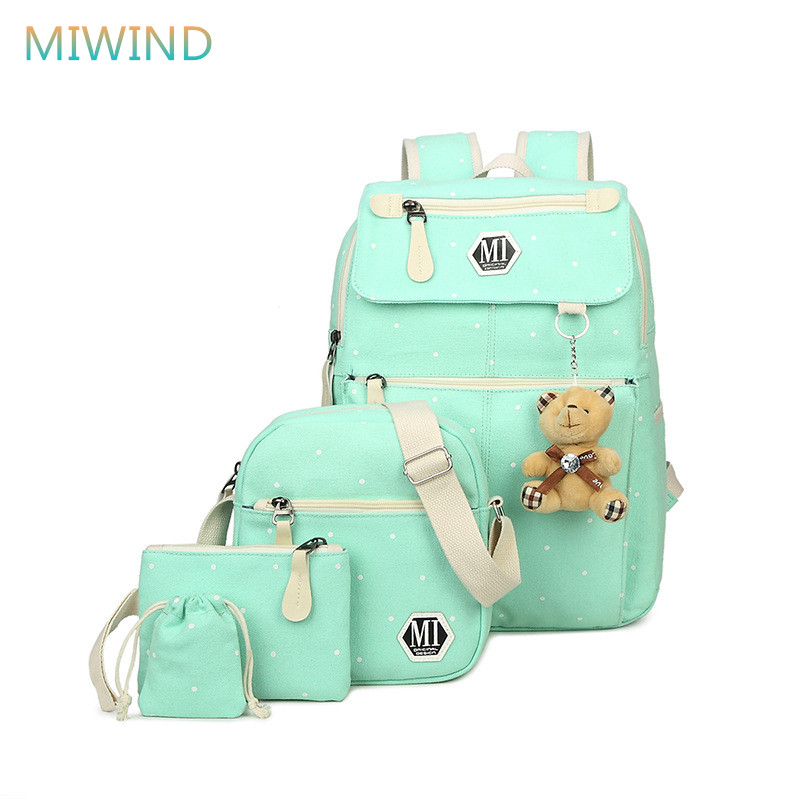 MIWIND Women Canvas Printing Backpacks Fashion 4pcs/set Schoolbag For Teenage Girls And Boy Rucksack Moclilas Shoulder Bag CB325 miwind women canvas backpack fashion 4 pieces set printing school backpacks for teenage girls travel shoulder bag rucksack cb249