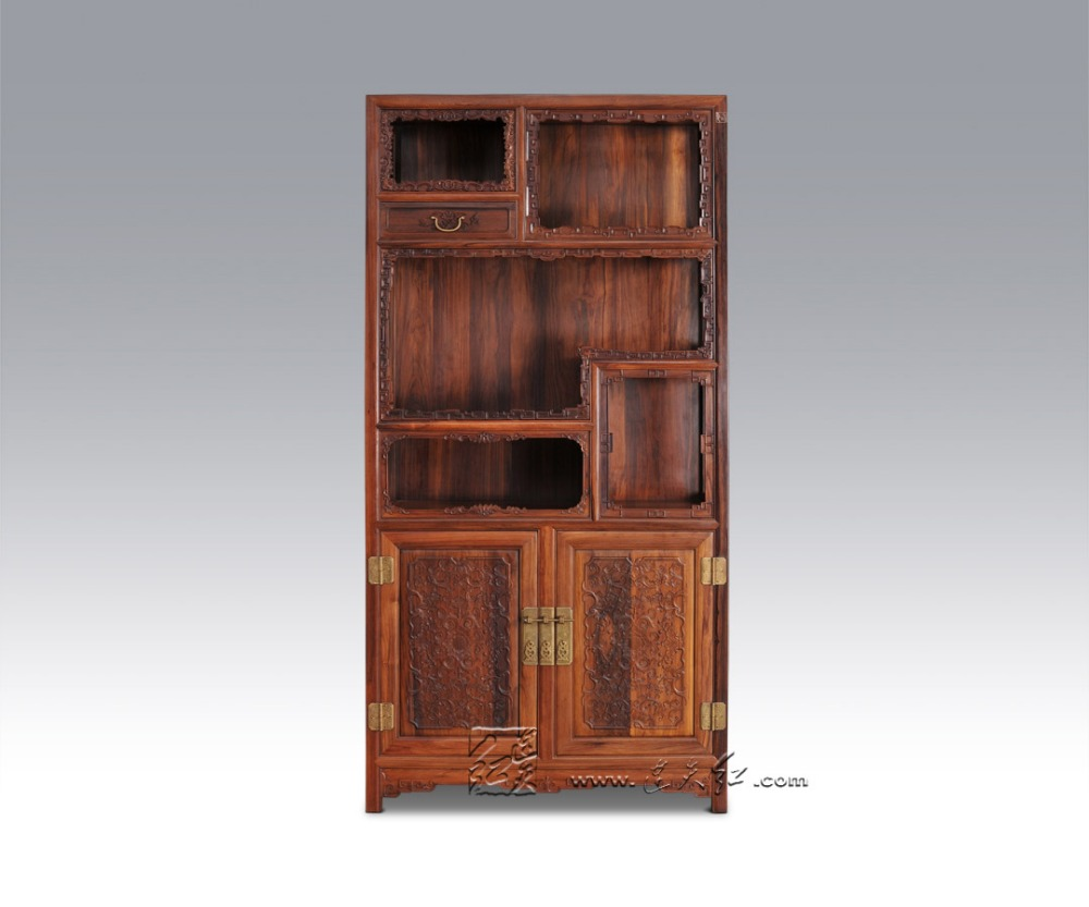Solid Wood Storage Bookcase Living Room Office Filing Cabinets Redwood Rosewood Magazine ...