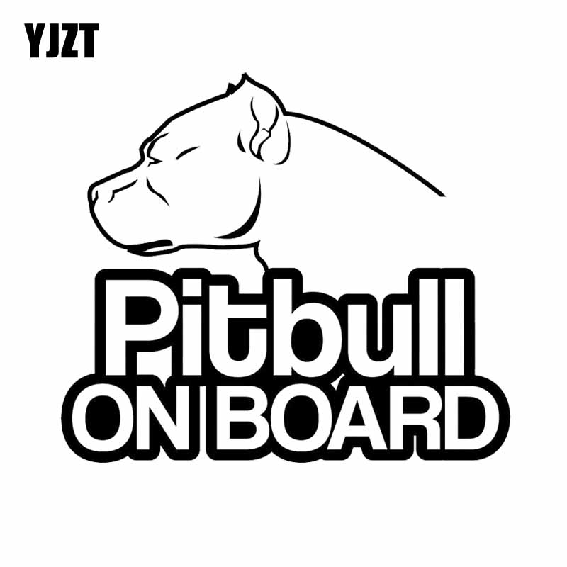 YJZT 16CM*13.9CM Pitbull On Board Dog Vinyl Funny Waterproof Car Sticker Black/Silver C2-3214 ...