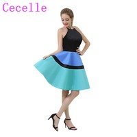 Simple Colorful Short Cocktail Dress Halter A Line Knee Length Semi Formal Teens Girls Cocktail Party