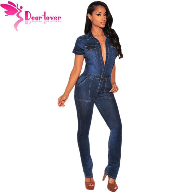a457c072630 Dear-Lover 2016 Fashion Macacao Jeans Longo Rompers Dark Denim Button Down Jumpsuit  Overalls Women Full Length Trousers LC64110