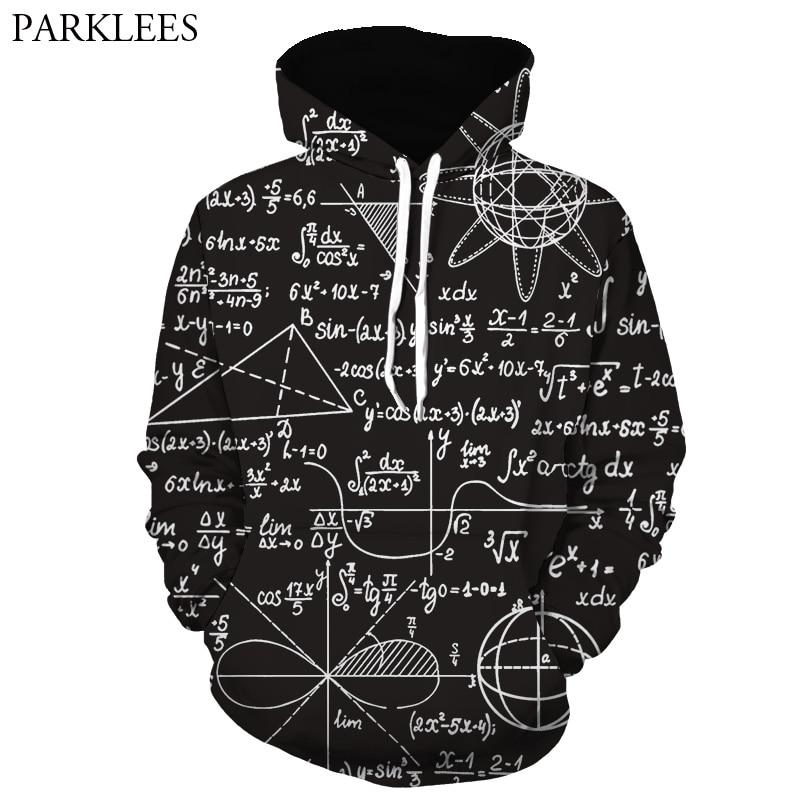 3D Black Hoodies Men Women Funny Maths Formula Print Hoodie Pullover Men Harajuku Hip Hop Tracksuit Male Casual Sudadera Hombre