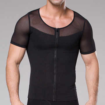aef1c0621a ... Men Chest Shaper Bodybuilding Slimming Belly Abdomen Tummy Fat Burn  Posture Corrector Compression Shirt Corset For