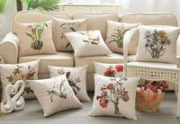 American country style flower cotton and linen sofa pillow garden car cushions Nordic Mediterranean pillow with core