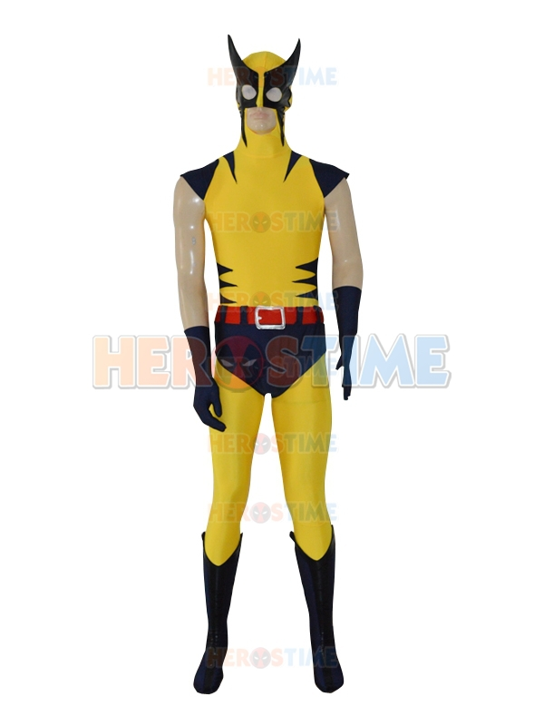 Free Shipping Navy Blue & Yellow X-Men Superhero Costume the most classic halloween cosplay spandex fullbody x-men costume